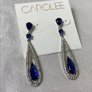 New Carolee silver tone Blue bead linear earrings